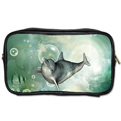 Funny Dswimming Dolphin Toiletries Bags 2 Side
