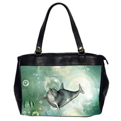 Funny Dswimming Dolphin Office Handbags (2 Sides)