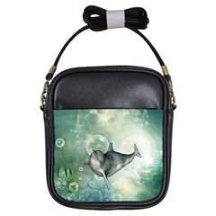 Funny Dswimming Dolphin Girls Sling Bags