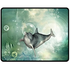 Funny Dswimming Dolphin Fleece Blanket (medium)