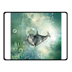 Funny Dswimming Dolphin Fleece Blanket (small)