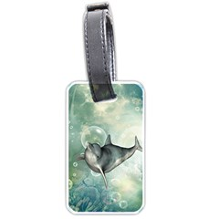 Funny Dswimming Dolphin Luggage Tags (one Side)