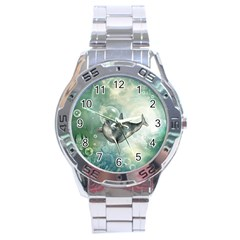 Funny Dswimming Dolphin Stainless Steel Men s Watch