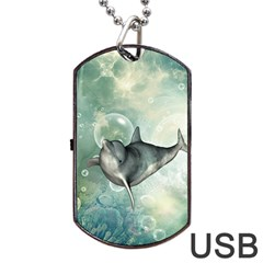 Funny Dswimming Dolphin Dog Tag Usb Flash (one Side)