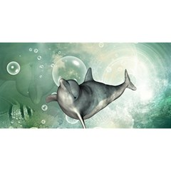 Funny Dswimming Dolphin You Are Invited 3d Greeting Card (8x4)