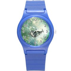 Funny Dswimming Dolphin Round Plastic Sport Watch (s)