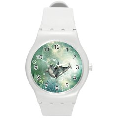 Funny Dswimming Dolphin Round Plastic Sport Watch (m)