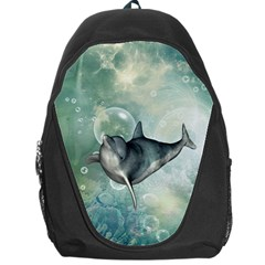 Funny Dswimming Dolphin Backpack Bag by FantasyWorld7