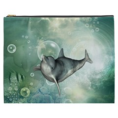 Funny Dswimming Dolphin Cosmetic Bag (xxxl)