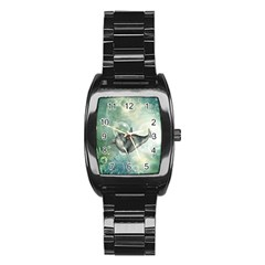 Funny Dswimming Dolphin Stainless Steel Barrel Watch
