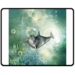 Funny Dswimming Dolphin Double Sided Fleece Blanket (medium)