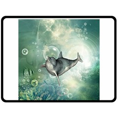 Funny Dswimming Dolphin Double Sided Fleece Blanket (large)