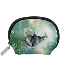 Funny Dswimming Dolphin Accessory Pouches (small)