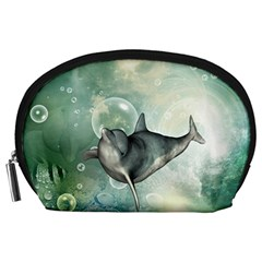 Funny Dswimming Dolphin Accessory Pouches (large)