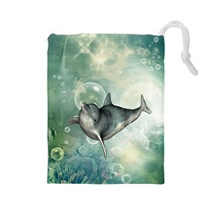 Funny Dswimming Dolphin Drawstring Pouches (large)
