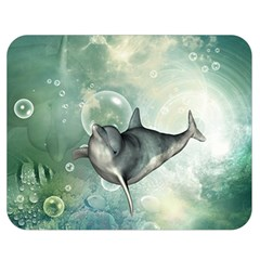 Funny Dswimming Dolphin Double Sided Flano Blanket (medium)