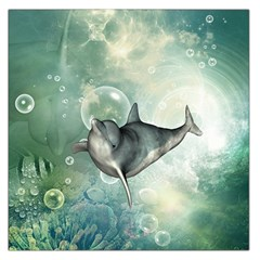 Funny Dswimming Dolphin Large Satin Scarf (square)