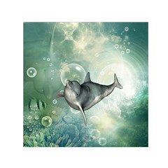 Funny Dswimming Dolphin Small Satin Scarf (square)