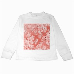 Delicate Floral Pattern,pink  Kids Long Sleeve T Shirts