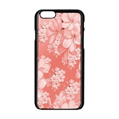 Delicate Floral Pattern,pink  Apple Iphone 6 Black Enamel Case by MoreColorsinLife