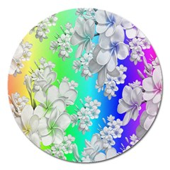 Delicate Floral Pattern,rainbow Magnet 5  (round) by MoreColorsinLife