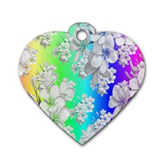 Delicate Floral Pattern,rainbow Dog Tag Heart (two Sides) by MoreColorsinLife