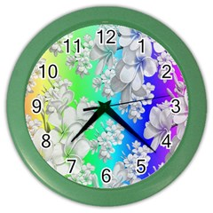 Delicate Floral Pattern,rainbow Color Wall Clocks by MoreColorsinLife