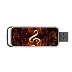 Decorative Cllef With Floral Elements Portable Usb Flash (two Sides) by FantasyWorld7