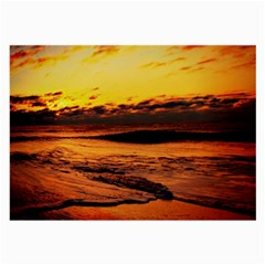Stunning Sunset On The Beach 2 Large Glasses Cloth (2 Side)