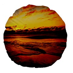 Stunning Sunset On The Beach 2 Large 18  Premium Flano Round Cushions by MoreColorsinLife