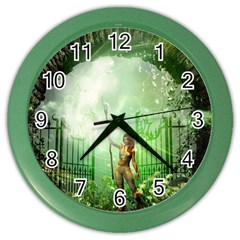 The Gate In The Magical World Color Wall Clocks by FantasyWorld7