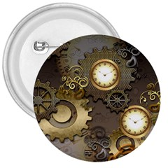 Steampunk, Golden Design With Clocks And Gears 3  Buttons by FantasyWorld7