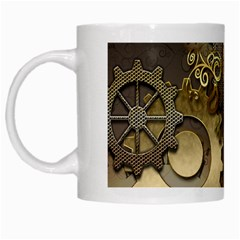 Steampunk, Golden Design With Clocks And Gears White Mugs by FantasyWorld7
