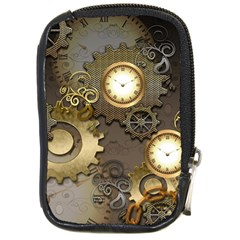 Steampunk, Golden Design With Clocks And Gears Compact Camera Cases by FantasyWorld7