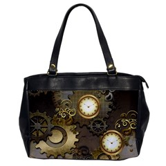 Steampunk, Golden Design With Clocks And Gears Office Handbags by FantasyWorld7