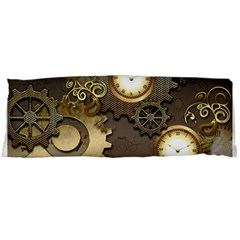 Steampunk, Golden Design With Clocks And Gears Body Pillow Cases Dakimakura (two Sides)