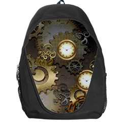 Steampunk, Golden Design With Clocks And Gears Backpack Bag by FantasyWorld7