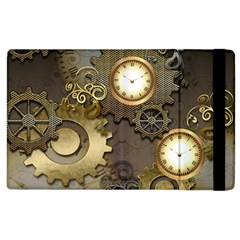 Steampunk, Golden Design With Clocks And Gears Apple Ipad 2 Flip Case by FantasyWorld7