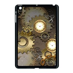 Steampunk, Golden Design With Clocks And Gears Apple Ipad Mini Case (black) by FantasyWorld7