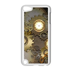 Steampunk, Golden Design With Clocks And Gears Apple Ipod Touch 5 Case (white) by FantasyWorld7