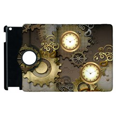 Steampunk, Golden Design With Clocks And Gears Apple Ipad 3/4 Flip 360 Case by FantasyWorld7