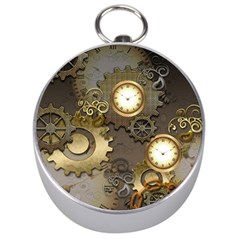 Steampunk, Golden Design With Clocks And Gears Silver Compasses by FantasyWorld7