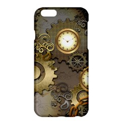 Steampunk, Golden Design With Clocks And Gears Apple Iphone 6/6s Plus Hardshell Case by FantasyWorld7
