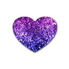Midnight Glitter Rubber Coaster (heart)  by KirstenStar