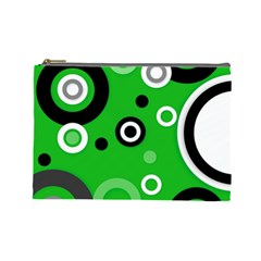 Green Abstract Pattern  Cosmetic Bag (large)  by OCDesignss