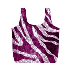 Purple Zebra Print Bling Pattern  Full Print Recycle Bags (m)