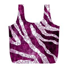 Purple Zebra Print Bling Pattern  Full Print Recycle Bags (l)