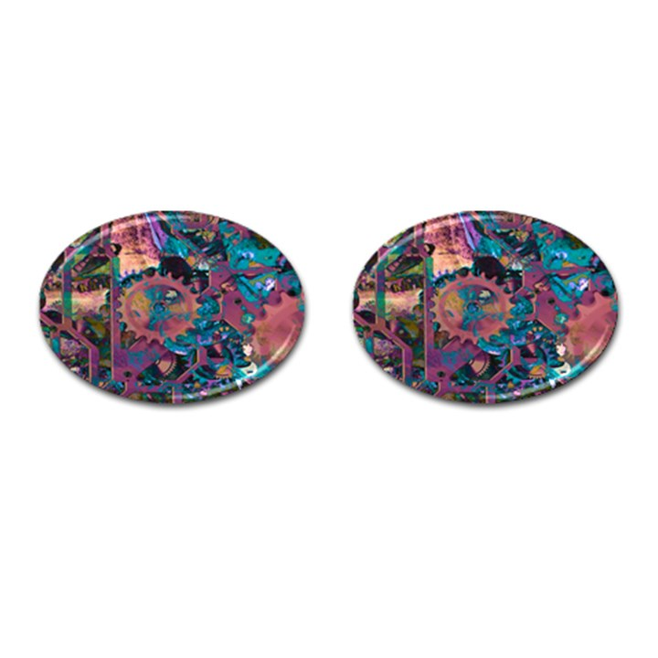 Steampunk Abstract Cufflinks (Oval)