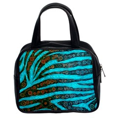 Turquoise Blue Zebra Abstract  Classic Handbags (2 Sides)