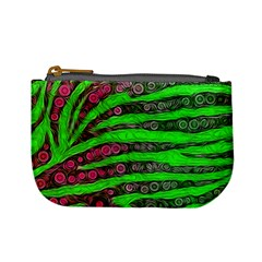 Florescent Green Zebra Print Abstract  Mini Coin Purses